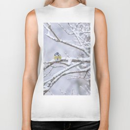 Blue Tit On A Snowy Branch Winter Scene #decor #society6 Biker Tank