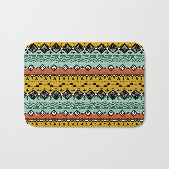 Colorful Aztec pattern. Bath Mat