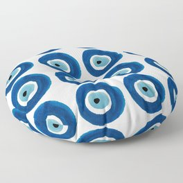 Watercolor Evil Eye Pattern (Nazar) Floor Pillow