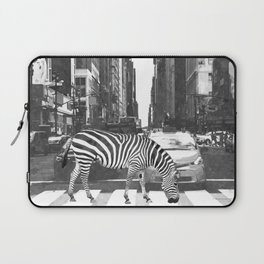 Black and White Zebra in NYC Laptop Sleeve