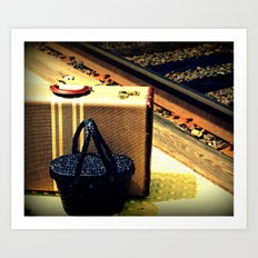 A Vintage Suitcase and A Straw bag Art Print