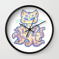 cthulu Wall Clocks featuring Catopus by adorkablyfeline