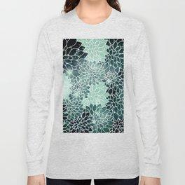 Space Dahlias Spearmint Green Long Sleeve T-shirt
