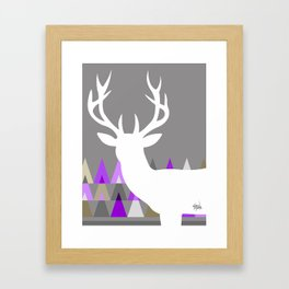 Deer Head Geometric Triangles | purple grey Framed Art Print
