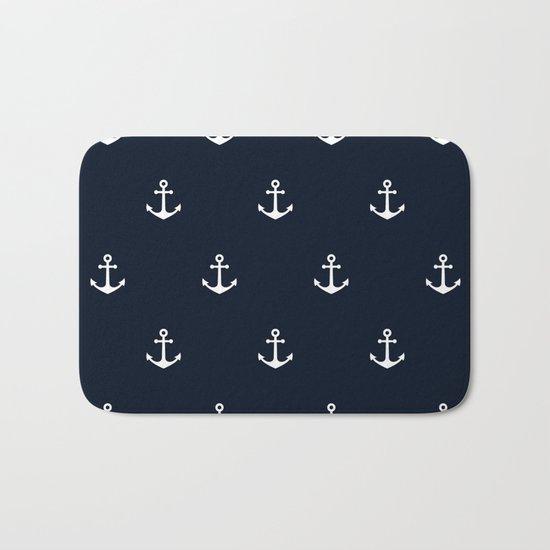 Dark Blue Anchor Pattern Bath Mat