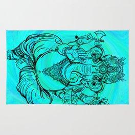 Lord Ganesha on Aqua Spiral Rug