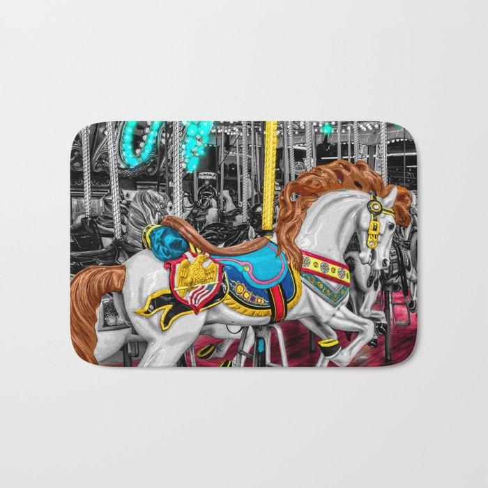 Colorful Carousel Horse at Carnival Bath Mat