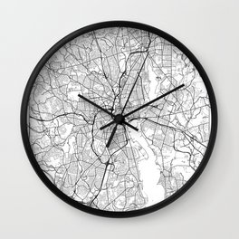 Providence Map White Wall Clock