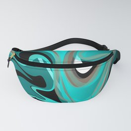 Liquify 2 - Brown, Turquoise, Teal, Black, White Fanny Pack
