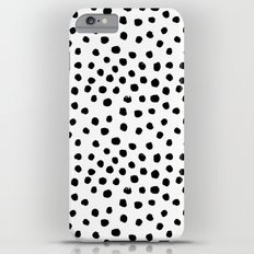 Preppy black and white dots minimal abstract brushstrokes painting illustration pattern print  iPhone 6 Plus Slim Case