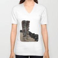 hawaiian V-neck T-shirts featuring Hawaiian Tikis by Moody Muse