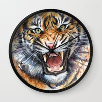 tiger Wall Clocks featuring Tiger by Olechka