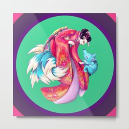 Maiko and Kitsune Metal Print