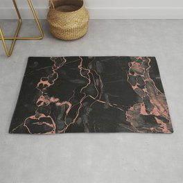 Black Marble and Rose Gold Rug