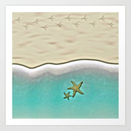 SANDY BEACH & STARFISH Art Print