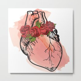Human Heart with roses wreath Metal Print