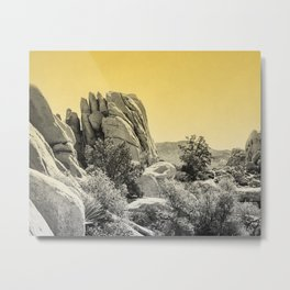 Yellow Fog Covered Mountains Metal Print