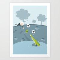 crocodile Art Prints featuring Crocodile by vainuidecastelbajac