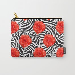 Zebra and Begonia Carry-All Pouch