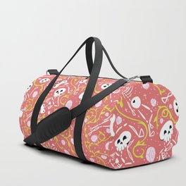Skeletons in Spring - sunglo red - white Duffle Bag
