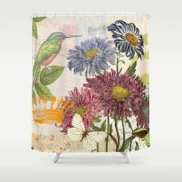 Dahlia Flowers with a Bird and a Crown Shower Curtain