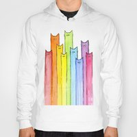 Hoodies featuring Cat Rainbow Watercolor Pattern by Olechka