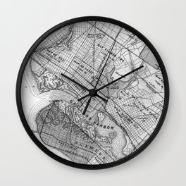 Vintage Map of Oakland California (1878) BW Wall Clock