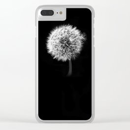 Black and White Dandelion Clear iPhone Case