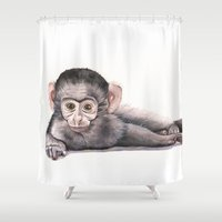 monkey Shower Curtains featuring Monkey by LouiseDemasi