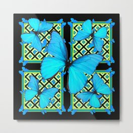 Ornate Black & Blue Azure Nouveau Butterfly Designs Metal Print
