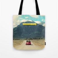 never stop exploring Tote Bags featuring NEVER STOP EXPLORING III by Leslee Mitchell