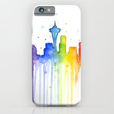 Seattle Skyline Rainbow Watercolor iPhone 6s Slim Case