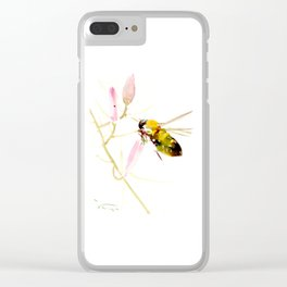 Bee and Pink Flowers Clear iPhone Case