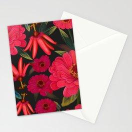 Zinnia and passiflora pattern black Stationery Cards