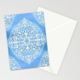 White Gouache Doodle on Pearly Blue Paint Stationery Cards