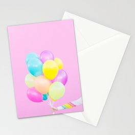 Handheld Balloons on Pink Stationery Cards