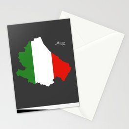 Abruzzo map with Italian national flag illustration Stationery Cards