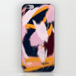 Shadow: an abstract, minimal mixed-media piece in blues and pinks by Alyssa Hamilton Art iPhone Skin