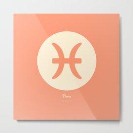 Pisces Symbol Pink Metal Print