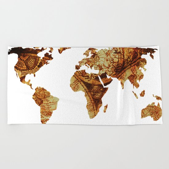 Antique Map of the World Continents Beach Towel
