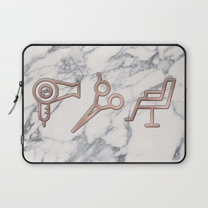 Rose Gold Blow Dryer on Marble Background - Salon Decor Laptop Sleeve