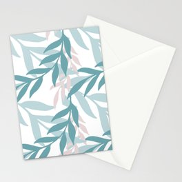 Abstract Seamless Pattern With Colorful Leaves And Plants Stationery Cards