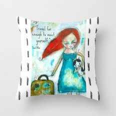 Travel girl quote Throw Pillow