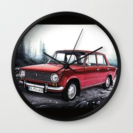 RUSSIAN LADA IN RED WITH SLOVAKIA TATRY MOUNTAINS IN THE BACKGROUND Wall Clock