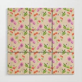 Poppy Pattern Neutral Wood Wall Art