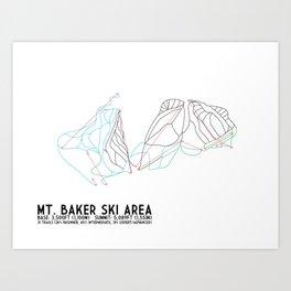 Mt. Baker, WA - Minimalist Trail Art Art Print