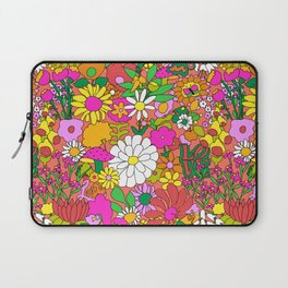 60's Groovy Garden in Neon Peach Coral Laptop Sleeve