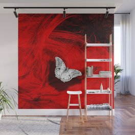 Silver butterfly emerging from the red depths Wall Mural