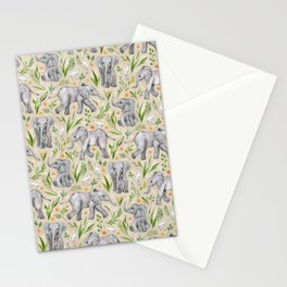 Baby Elephants and Egrets in Watercolor - neutral cream Stationery Cards
