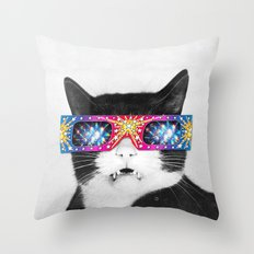 Laser Cat Throw Pillow